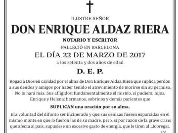 La original esquela de don Enrique Aldaz Riera