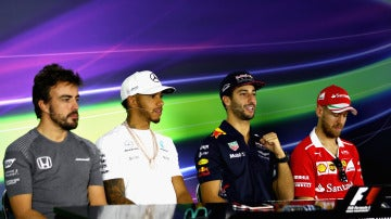 Alonso, Hamilton, Ricciardo y Vettel, en rueda de prensa en Albert Park