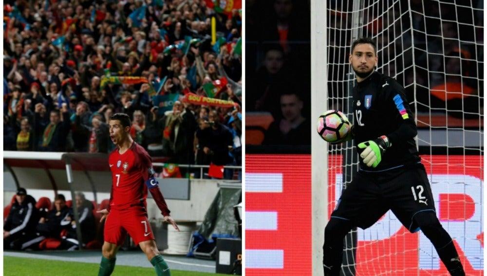 Cristiano Ronaldo y Donnarumma con sus selecciones