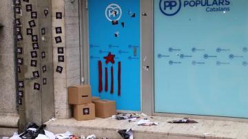 La sede del PP tras el intento de ocupación