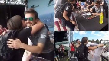 Una aficionado se vuelve loca al conocer a Alonso