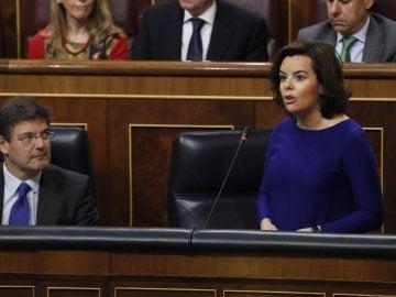 Soraya Sáenz de Santamaría, la vicepresidenta del Gobierno, en el Congreso de los Diputados