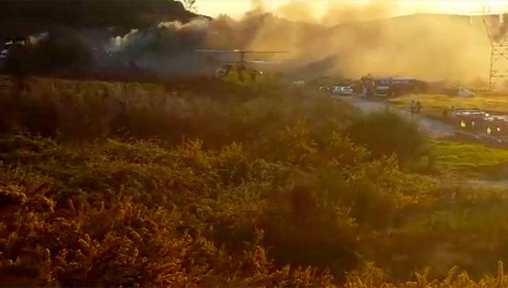 Vista de la explosión en una fábrica pirotécnica