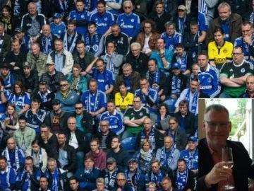 La aficionada del Borussia, en mitad de la grada del Schalke