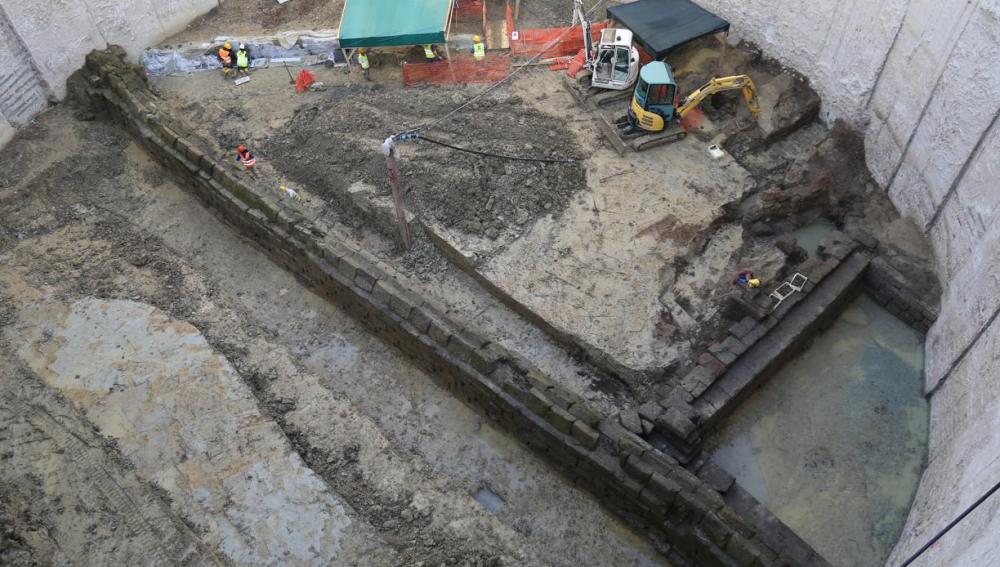 El acueducto descubierto en unas obras del Metro de Roma