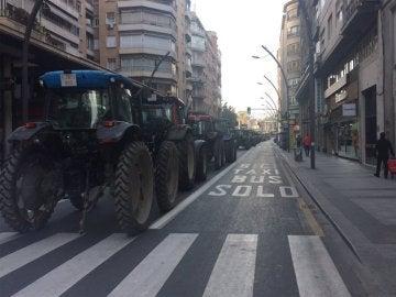Tractores en el centro de Murcia