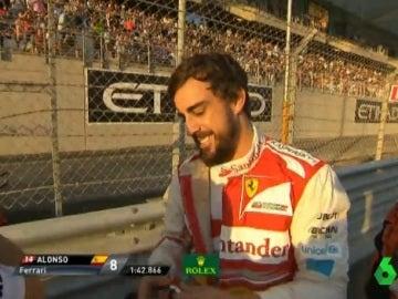 Fernando Alonso, en un carrera con Ferrari