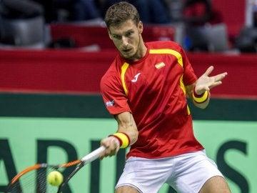 Pablo Carreño durante un partido de la Copa Davis