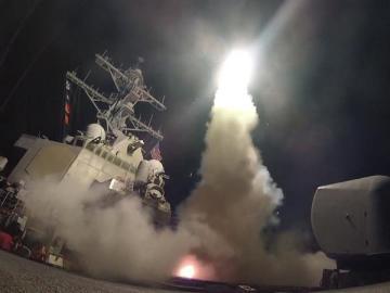 Momento del lanzamiento de un misil autodirigido