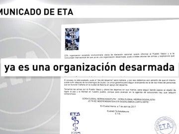 """Frame 7.783913 de: ETA emite un comunicado en el que declara que """"ya es una organización desarmada"""""""
