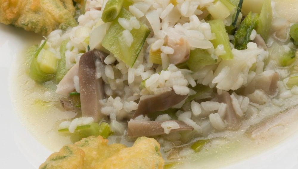 Borraja con arroz y setas