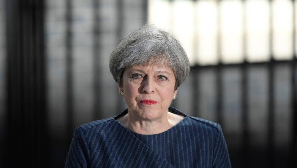 Theresa May, durante el anuncio de adelanto electoral