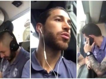 El autobús del Madrid a su llegada al Bernabéu