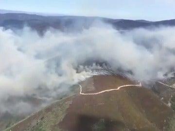 Frame 17.048908 de: Avanza un incendio forestal hacia la localidad leonesa de Montes de Valdueza