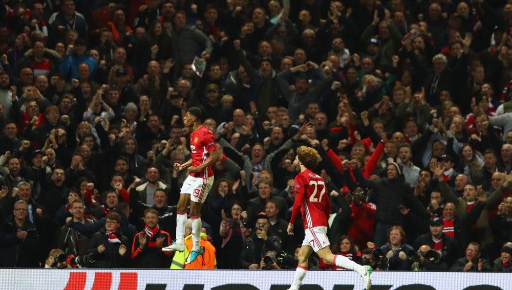 Marcus Rashford celebra su gol salvador ante el Anderlecht