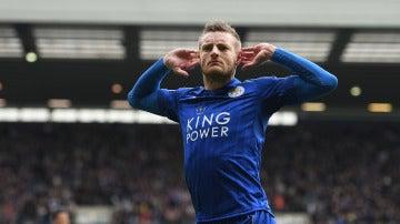 Vardy celebrando el gol del partido
