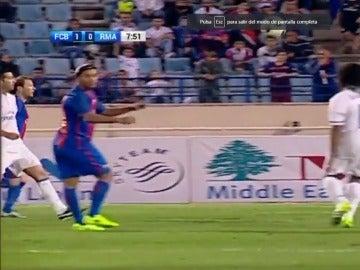 Ronaldinho durante el partido Barça-Real Madrid de veteranos