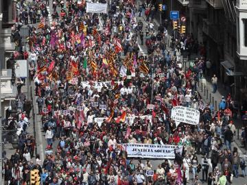 Manifestación en Barcelona por el Día del Trabajo