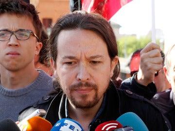 Pablo Iglesias e Íñigo Errejón en la manifestación del Día del Trabajo