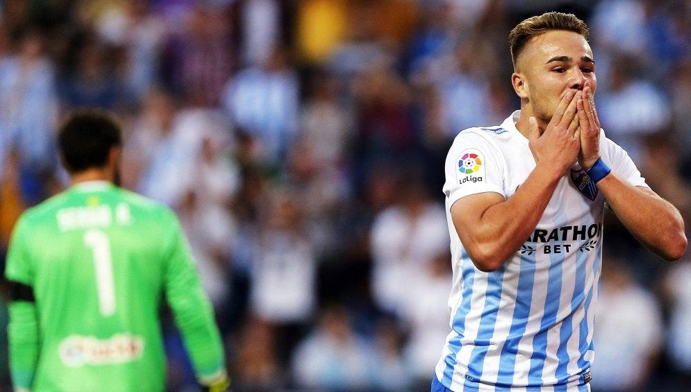 Ontiveros celebra su gol ante el Celta de Vigo