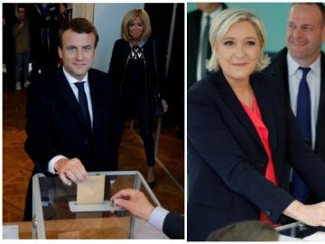 Macron y Le Pen votando