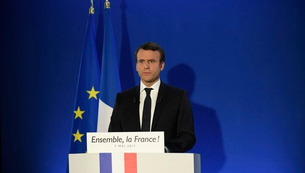 Emmanuel Macron tras ganar las elecciones