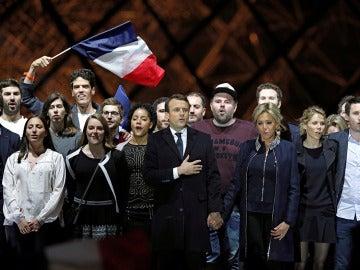 Macron tras ganar las elecciones de Francia