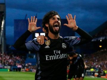 Isco celebrando su gol al Atlético de Madrid