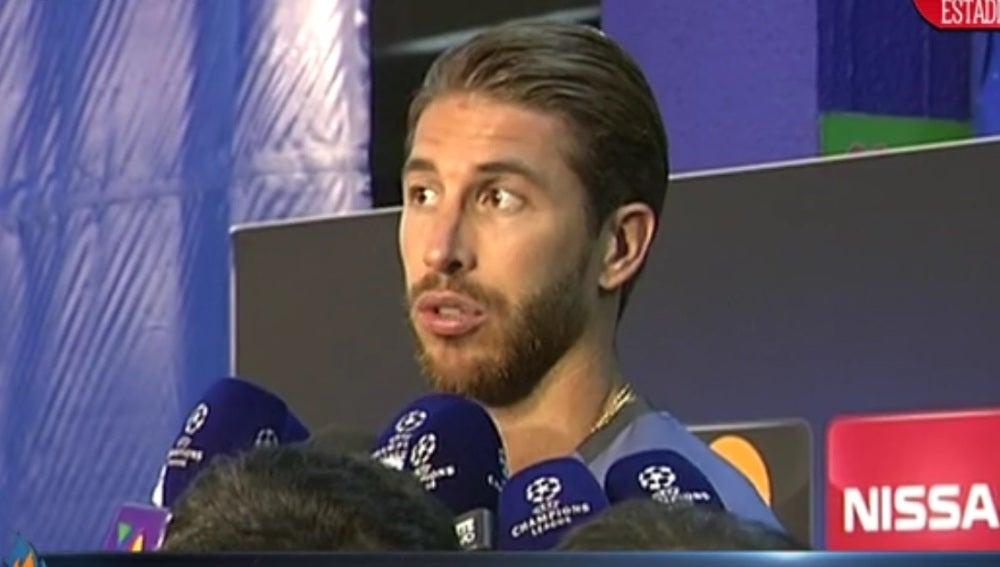 Sergio Ramos, en la zona mixta del Calderón