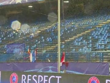 Así quedó la grada del Calderón tras el derbi