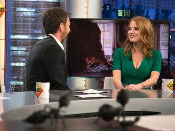 Jessica Chastain habla sobre la violencia hacia la mujer y el papel que esta ocupa   en el cine en 'El Hormiguero 3.0'