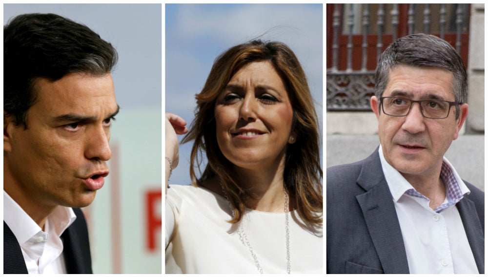Pedro Sánchez, Susana Díaz y Patxi López