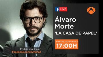 Álvaro Morte, El Profesor en 'La casa de papel', dará las claves del atraco perfecto en directo en Facebook Live