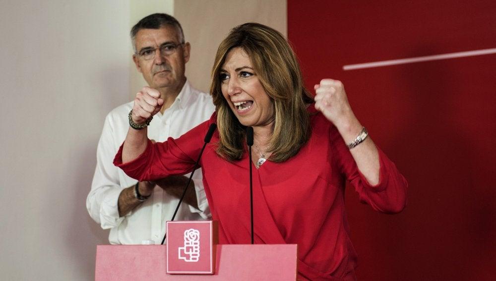Susana Díaz, en un acto de campaña en Extremadura