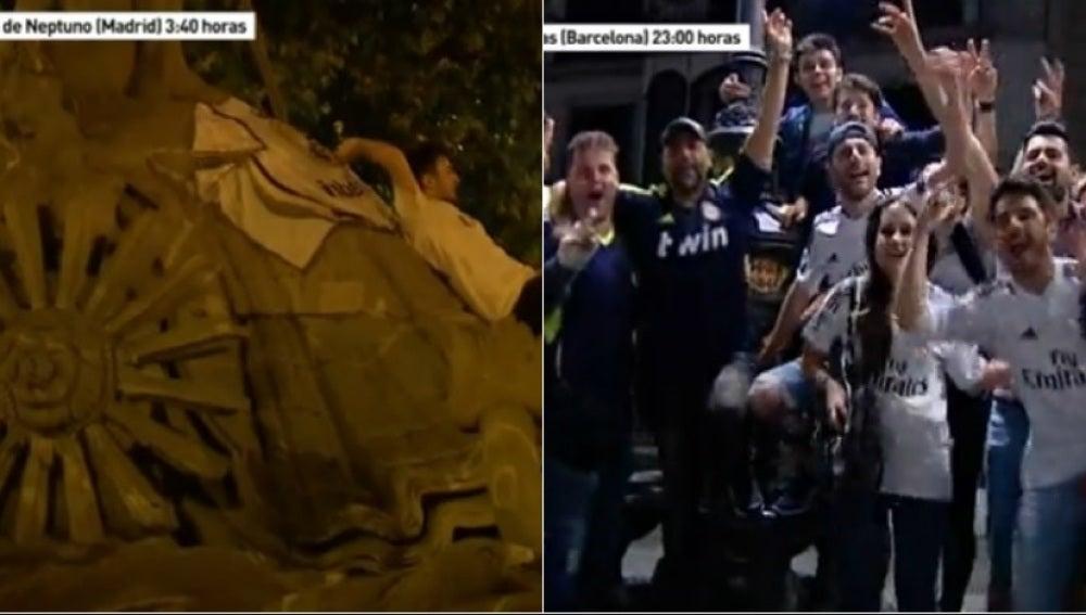 Aficionados del Real Madrid en Neptuno y Canaletas