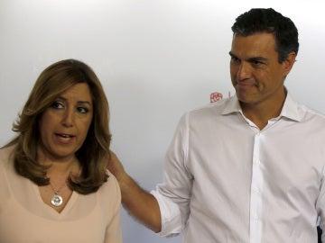 Susana Díaz y Pedro Sánchez tras las primarias del PSOE