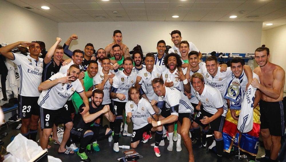 Fiesta en el vestuario del Real Madrid