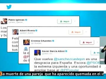 Frame 32.125555 de: Políticos de otros partidos felicitan a Pedro Sánchez por su victoria en las primarias del PSOE