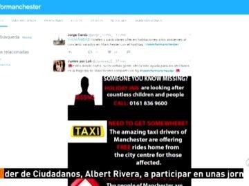Frame 16.382777 de: El hashtag 'Room for Manchester' y viajes gratis en taxi muestran la cara solidaria de la sociedad tras el ataque terrorista en Manchester