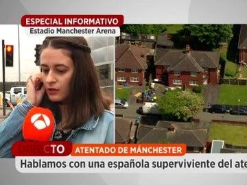 """Frame 77.843559 de: Una española que asistió al concierto de Ariana Grande relata qué pasó tras la explosión: """"Empezaron a gritar y los niños a llorar"""""""