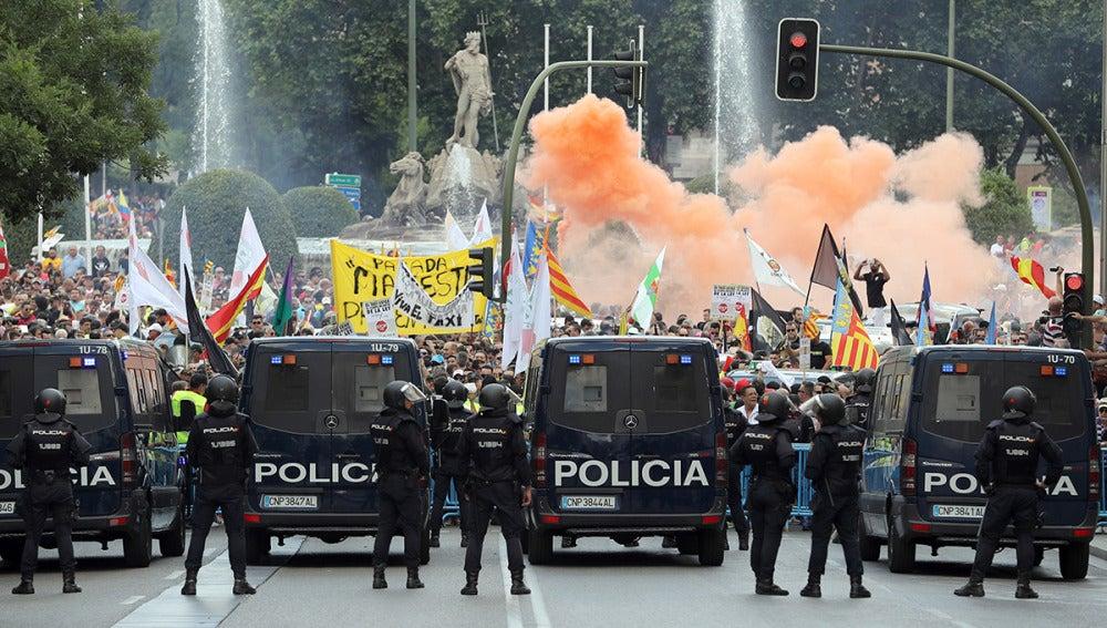 Imagen de la huelga de taxis en Madrid