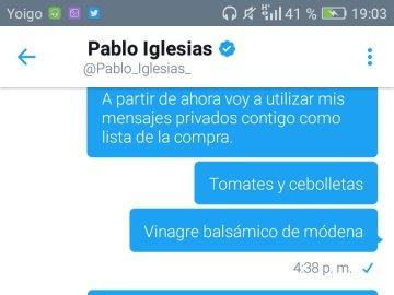 Captura de la conversación de Pablo Iglesias con un tuitero