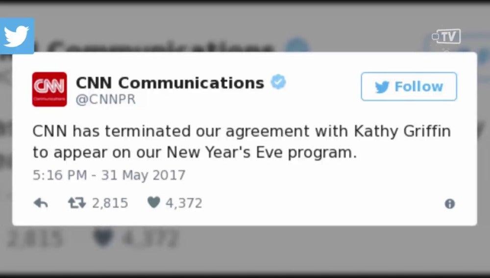 Frame 14.400431 de: La cadena CNN despide a Kathy Griffin tras su polémica foto con la cabeza de Donald Trump