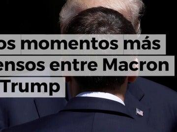 Del duelo en el apretón de manos al 'plagio' del eslogan: la tensa relación entre Macron y Trump