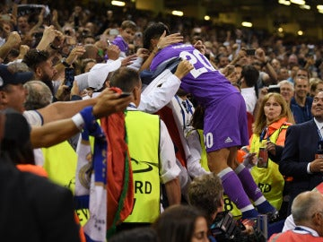 Marco Asensio celebra su gol a la Juventus