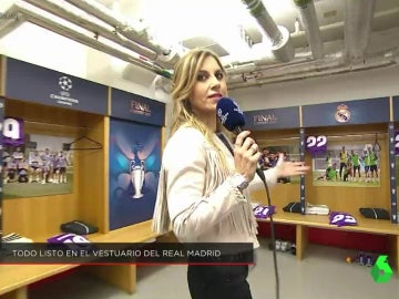 Susana Guasch, en el vestuario del Real Madrid en Cardiff