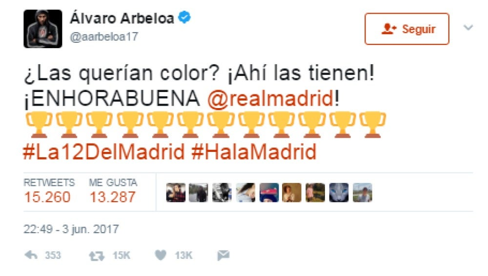 El tuit de Arbeloa tras ganar la Champions