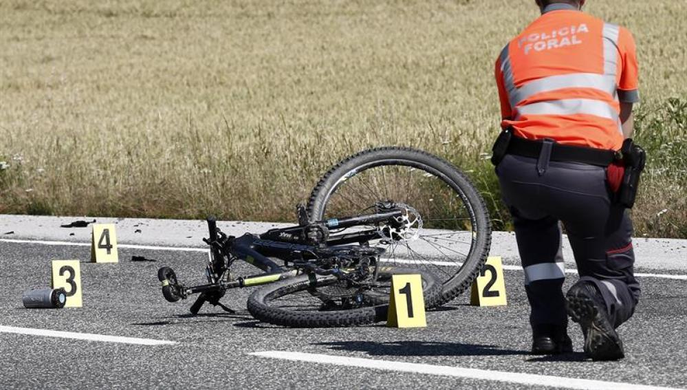 La bicicleta del ciclista fallecido en Navarra