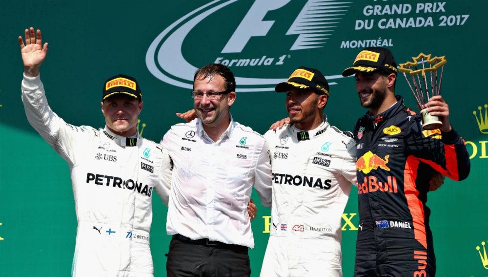 Bottas, Hamilton y Ricciardo, en el podio de Canadá