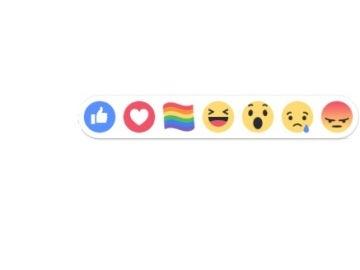 Botón de Facebook con motivo del Orgullo LGTB